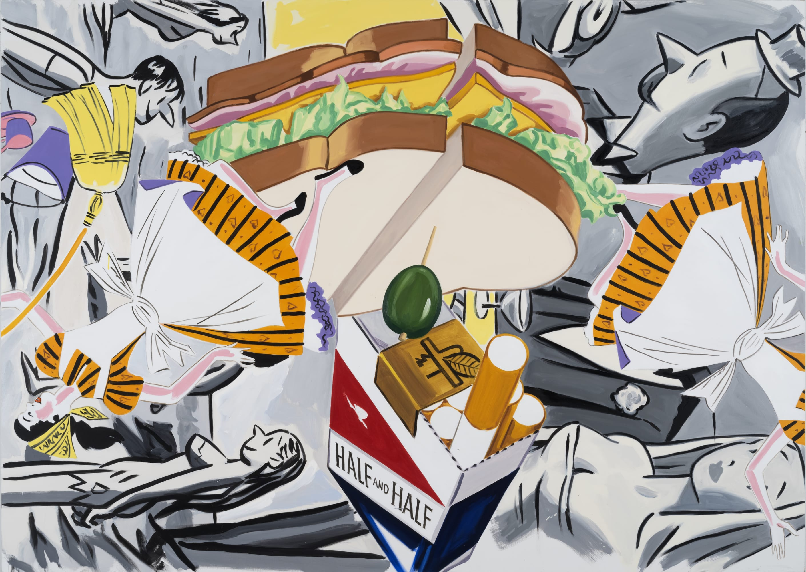 David Salle, A Night in the Sky with Friends (2019); Self-Ironing Pants & Other Paintings at Thaddaeus Ropac Paris Marais 2020