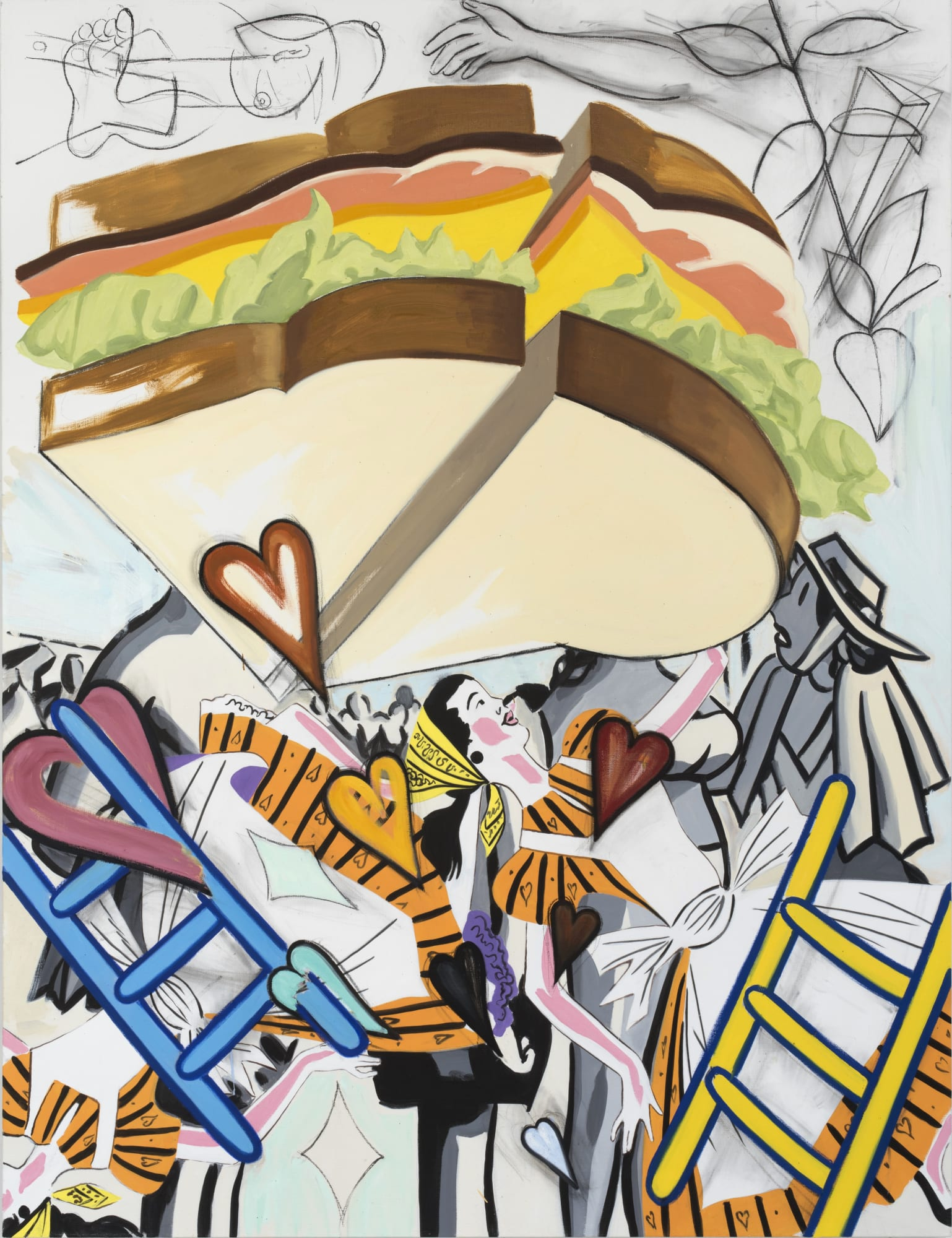 David Salle, Flying, Rainbow, Sandwich (2019); Self-Ironing Pants & Other Paintings at Thaddaeus Ropac Paris Marais 2020