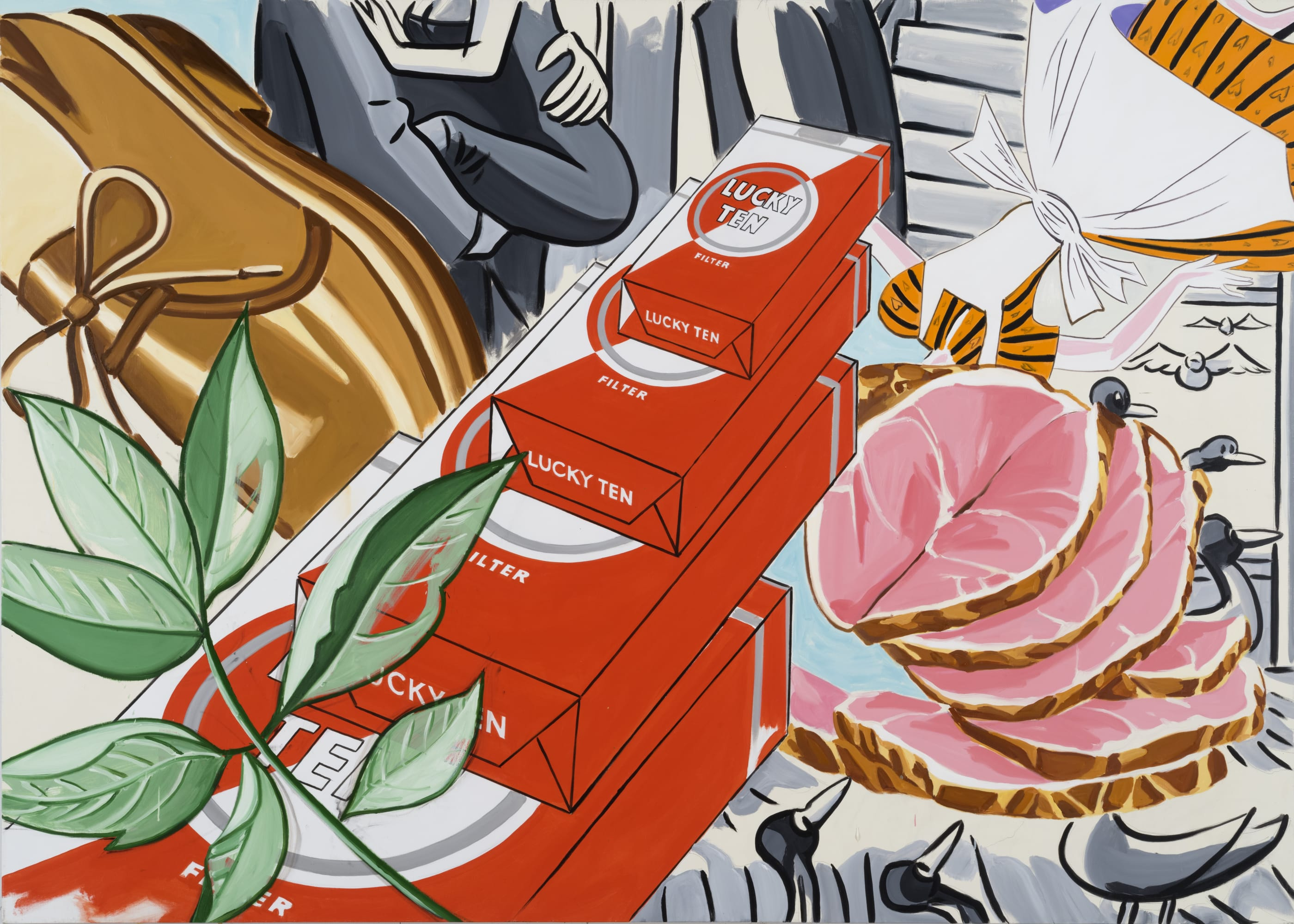 David Salle, Forget School - Remember Camp (2019); Self-Ironing Pants & Other Paintings at Thaddaeus Ropac Paris Marais 2020