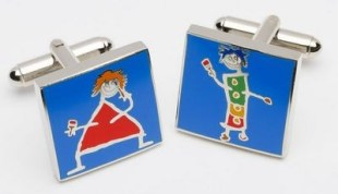 John D Wilson Painting The Town Too - Cufflinks Silver finish, hand enamelled limited edition cufflinks Limited Edition of 500