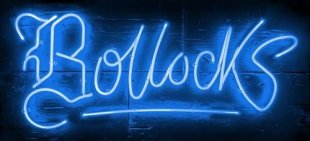 "Courty Neon Art Bollocks - Electric Blue, 2018 Framed, Signed & Certified Limited Editions Framed Size: 36"" x 25"""
