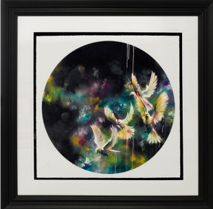 Katy Jade Dobson Dusk (Doves Black) - Small, 2017 Limited Edition Signed Giclee Print Framed Size 22 x 22 in Framed Size 55.9 x 55.9 cm Edition of 45