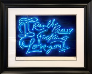 """Courty Neon Art Really, Really - Electric Blue , 2018 Framed, Signed & Certified Limited Edition Print Framed Size: 40"""" x 34"""" Edition of 25 plus 5 artist's proofs"""