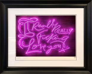 """Courty Neon Art Really, Really - Purple Haze , 2018 Framed, Signed & Certified Limited Edition Print Framed Size: 40"""" x 34"""" Edition of 25 plus 5 artist's proofs"""