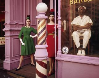 William Klein, Antonia + Simone, Barbershop, New York (Vogue), 1961
