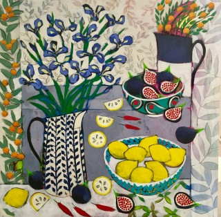 Relton Marine, Still Life with Iris and Figs