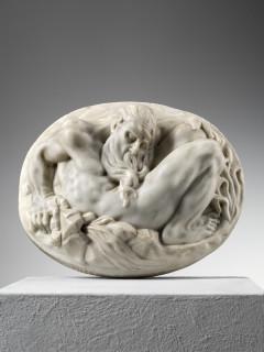 Attributed to Giovanni Bonazza, Oval marble plaque representing Winter, Venice, 18th Century