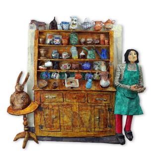 Luned Rhys Parri, Artist a'i Dresel / Artist with Welsh Dresser