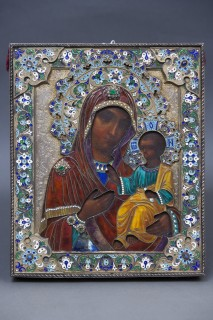 <span class=&#34;artist&#34;><strong>Faberg&#233;</strong></span>, <span class=&#34;title&#34;><em>Russian Icon of Mother of God of Smolensk</em>, circa 1880</span>