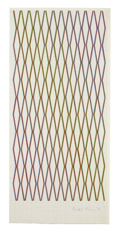"<span class=""artist""><strong>Bridget Riley</strong></span>, <span class=""title""><em>Red with blue to green</em>, 1972</span>"