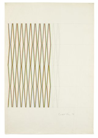 "<span class=""artist""><strong>Bridget Riley</strong></span>, <span class=""title""><em>Orange, violet and green</em>, 1972</span>"