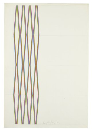 "<span class=""artist""><strong>Bridget Riley</strong></span>, <span class=""title""><em>Series 12. Cerise, olive and turquoise</em>, 1972</span>"