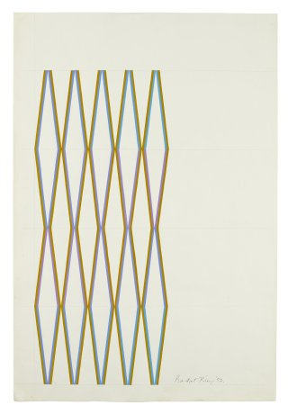 "<span class=""artist""><strong>Bridget Riley</strong></span>, <span class=""title""><em>Olive with turquoise – violet</em>, 1972</span>"