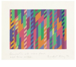 <span class=&#34;artist&#34;><strong>Bridget Riley</strong></span>, <span class=&#34;title&#34;><em>Composition with colour planes, light tones added</em>, 1995</span>