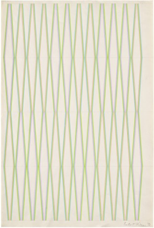 <span class=&#34;artist&#34;><strong>Bridget Riley</strong></span>, <span class=&#34;title&#34;><em>Untitled [Pink, Green and Blue]</em>, 1972</span>
