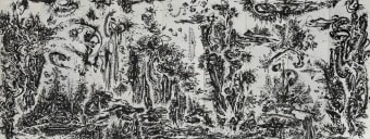 Huang Zhiyang, Zoon-Beijing Bio-Spring No. 1, 2014, ink on silk, 9 panels, each 475 x 120 cm