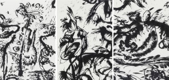 Huang Zhiyang, Zoon-Beijing Bio-Spring No. 1(detail), 2013, ink on silk, 5 panels, each 475 x 120 cm