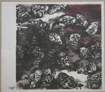 Yang Jiechang, Massacre, 1982, Ink and color on Korea paper, mounted on canvas, 208 x 207 cm.