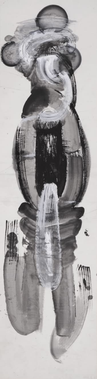 Zheng Chongbin, Another State of Man No. 6, 1987, Ink and acrylic on xuan paper, 243.8 x 66 cm.