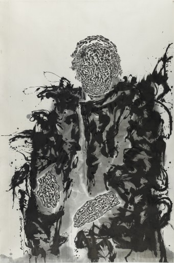 Huang Zhiyang, Lover's Library-Old Mother, 2014 Ink on silk, 220 x 140 cm