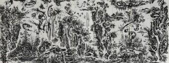 Huang Zhiyang, Zoon-Beijing Bio-Spring No. 1, 2014, ink on silk, 9 panels, each 475 x 120 cm