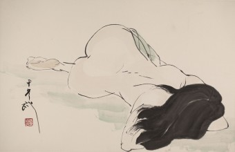 Qian Shaowu, Figure Line Drawing No. 11, 2014, Ink on paper, 58 x 90 cm.