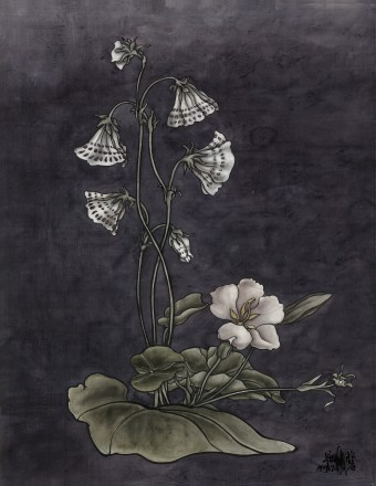 Yang Jiechang, These are still Flowers 1913-2013 No. 6, 2013, Ink and mineral pigments on silk, mounted on canvas, 90 x 70 cm