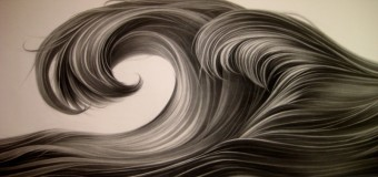 Zhang Chunhong, Waves, 2013, Charcoal on paper, 122 x 366 cm.