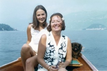 Mimi Johnson with Dorothea Tanning and little Groucho at Lake Como, Italy in 1969. photograph by Gretel Marinotti​