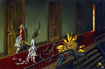 Dorothea Tanning (1910-2012). Eine Kleine Nachtmusik, 1943. Oil on canvas, 407 x 610 mm © Tate, London 2015 © The Estate of Dorothea Tanning / ADAGP, Paris/ VEGAP, Málaga, 2016.