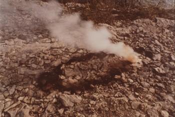 Ana Mendieta, Untitled, Gunpowder Silueta Series (Rocks and Explosion), 1978