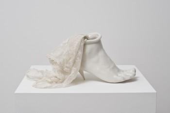 Birgit Jürgenssen, 'Porcelain Shoe', 1976, Porcelain, crochet scarf, 23 x 17 x 10cm, Courtesy of Galerie Hubert Winter, Vienna, © Estate of Birgit Jürgenssen