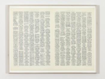 Irma Blank, 'Trascrizioni, Zeitungsdoppelseite', 1974, India Ink on parchment-like paper © Irma Blank