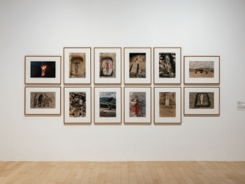 Installation view: Ana Mendieta in 'Unsettled | Art on the New Frontier', Palm Springs Art Museum, Nevada. Image courtesy Palm Springs Museum of Art.