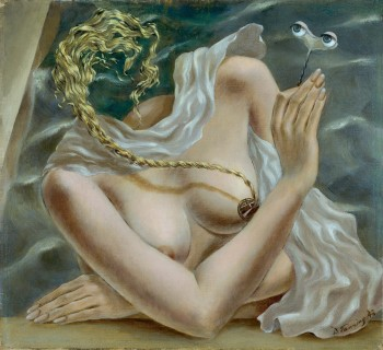 Dorothea Tanning, Voltage, 1942, Oil on canvas, Collection Ulla und Heiner Pietzsch, Berlin, © The Estate of Dorothea Tanning/VG Bild-Kunst, Bonn 2020, Photo: Jochen Littkemann, Berlin.