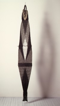 Lenore Tawney, 'Black Woven Form (Fountain)', 1966, linen, 266.7 x 43.2 x 5.7 cm (105 x 17 1/8 x 2 1/4 in)