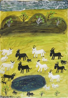"<span class=""artist""><strong>Thelma Dixon</strong></span>, <span class=""title""><em>Nanny Goats at Robinson River</em>, 2011</span>"