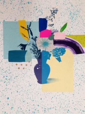 <span class=&#34;artist&#34;><strong>Emily Filler</strong></span>, <span class=&#34;title&#34;><em>Paper Bouquet (blue + purple vase)</em>, 2017</span>