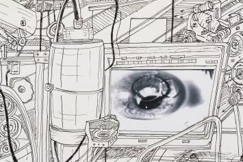 Milton Machado, Num piscar de olhos (detalhe), 2017 nanquim e colagem sobre papel 70 x 100 cm
