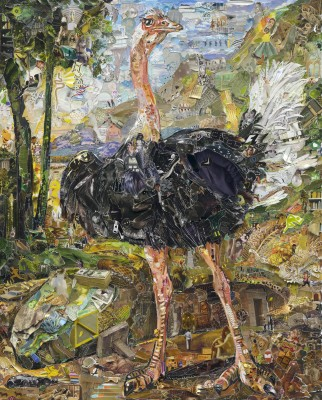 <strong>vik muniz</strong>, <em>pictures of magazine 2: study of ostrich, after nicasius bernaerts</em>, 2013