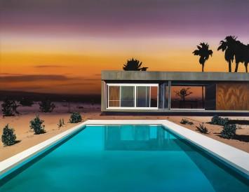 <p><strong>Laurence Jones,</strong><em>Desert Palms</em><em>,</em>2019, acrylic on linen, 155 x 120 cm</p>