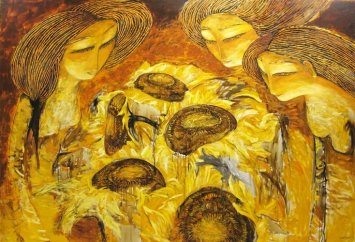 Munkhtsetseg Jalkhaajav, The Passing, Oil on Canvas, 200 x 290 cm, 2010