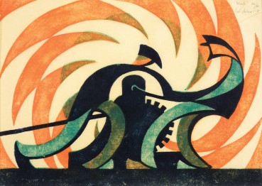 Sybil Andrews  The Winch, 1930  Linocut  20 x 28 cm  From the edition of 50 impressions  Signed, titled, and numbered upper right