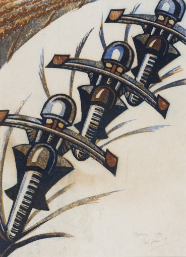 Sybil Andrews  Speedway, 1934  Linocut  32 x 23 cm  From the edition of 60 impressions  Signed, titled and numbered lower right