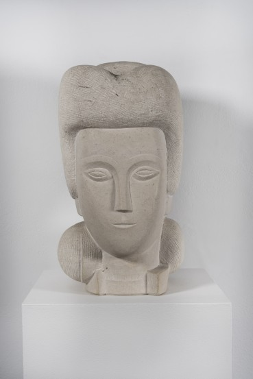 George Kennethson  Head of a Girl  White Purbeck  40 x 20 x 25 cm