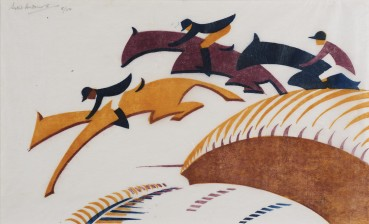 Sybil Andrews  Steeplechasing, 1930  Linocut  17 x 27 cm  From the edition of 50 impressions  Signed and numbered upper left