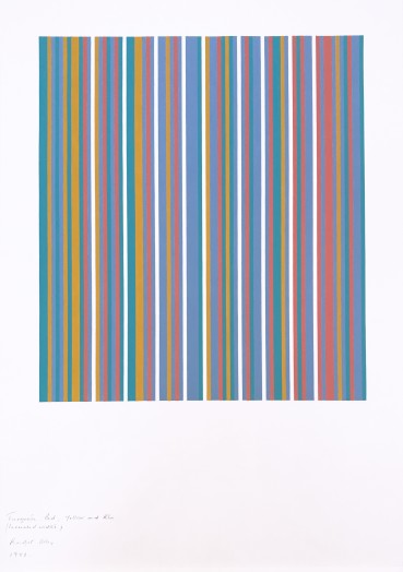 Bridget Riley  Turquoise, Red, Yellow and Blue (increased width), 1982  Gouache on paper  94 x 75 cm  Signed, dated and titled at lower left of sheet
