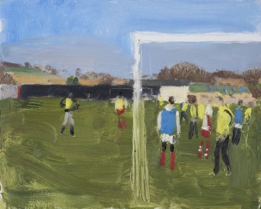 Danny Markey  Yellow and Blue Footballers  Oil on board  23.5 x 29.4 cm  Signed and dated verso