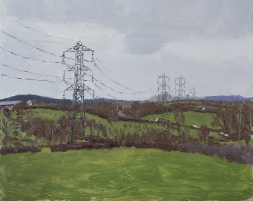 Danny Markey  Pylons on the Edge of a Town  Oil on board  30.5 x 38.5 cm  Signed and dated verso