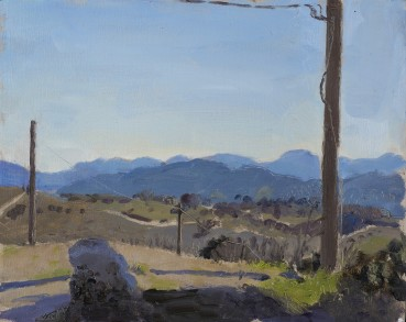 Danny Markey  Mountains and Telegraph Poles, Italy  Oil on board  23.5 x 29.3 cm  Signed and dated verso